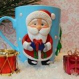 Продам авторскую чашку Дед Мороз.декорированую полимерной глиной