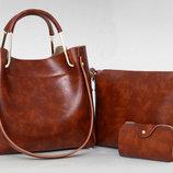 Модный набор женских сумок с мраморным оттенком 3в1 В наличии