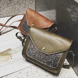 Женская сумка почтальон с блестками В Наличии