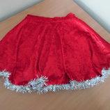Юбка карнавальная девочке велюр красная