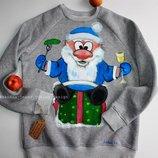 новогодний свитшот дед мороз санта новогодний свитер ручная роспись
