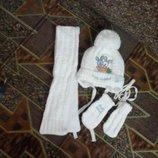 Зимний комплект, шапочка шарфик и рукавички для новорожденных