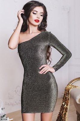 Нарядное праздничное платье Люрекс Один рукавчик 2 цвета