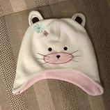 12-24 мес шапочка шапка 1-слойная флис с ушками котик