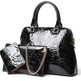 Набор женских сумок Rosa 3 в 1 AL7476 Женская лакированная сумка лакированный клатч. визитница