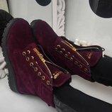 Хит 2018 ботинки замш марсала бордо зима в стиле известного бренда