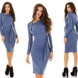 Элегантное женское платье средней длины 3089 Ангора Вырез Диагональ в расцветках.
