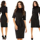 Элегантное женское платье средней длины 4011 Алекс Полоска Миди в расцветках