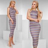 Стильное женское платье средней длины 1115 Вязка Полоска Майка Миди .