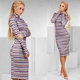 Женское стильное платье средней длины 1122 Гольф Вязка Полоска Миди .