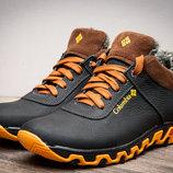 Ботинки на меху,зимние,мужские,кожа,черный с желтым