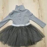 нарядное платье с фатиновой юбочкой некст 9-12-18мес