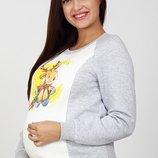 Свитшот для беременных и кормящих мам из теплого трикотажа трехнитка с начесом и принтом «Олень