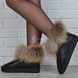 Угги натуральная кожа с натуральным мехом женские черные Kind slow на платформе