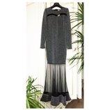 Платье рыбка длинное нарядное люрекс фатин гламур люкс Италия S/M/L вечернее серебристый/черный