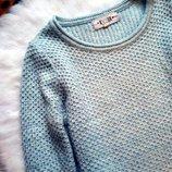 мятный голубой вязанный свитер кофта вязанная косы теплый оверсайз
