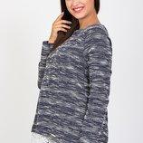Изысканная туника для беременных и кормящих из трикотажа букле с отделкой, синяя