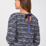 Красивый джемпер для беременных и кормящих из трикотажа букле, синий меланж
