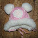 Красивая Зимняя шапка девочке ушанка с мехом