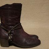 Эффектные темно сливовые фирменные кожаные полусапожки MJUS Италия 36.