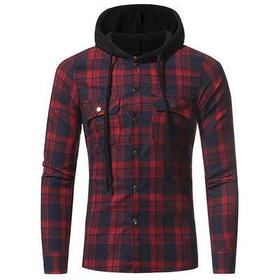 523049c1f81 Мужская Теплая фланелевая рубашка с утепленным флисом капюшоном Jack 2  цвета AL7678