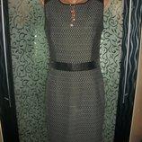 стильное платье футляр 44-46 размер комбинированное кожей Next Некст