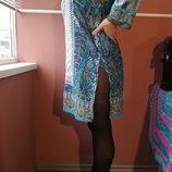 Восточный стиль платье-туника с серебристой отделкой 14 размера