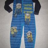 5-6 лет, флисовая пижама слип с миньонами на молнии