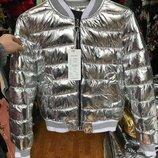 Бомбер,куртка деми, цвет серебро