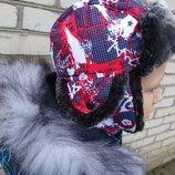 Зимняя шапка для мальчика Аssa с мехом