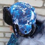 Шапка зимняя с мехом для мальчика