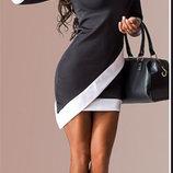 Стильное легкое черное платье с белыми вставками