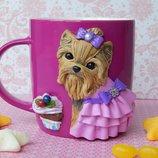 Продам авторскую чашку .кружку Рози.декорированую полимерной глиной.Чашка с собакой.Чашка с йорком