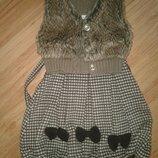 Красивое теплое платье сарафан 3-6л.