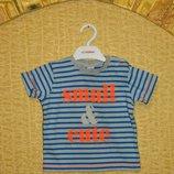 Футболка детская полосатая голубая с оранжевыми буквами на 3-6 мес. Next