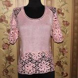 Супер брендовая Розовая кофточка ажурной вязки Размер - M, L
