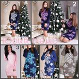 Вязаное теплое платье 44-50 снежинка короткое