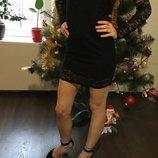 Маленькое черное Праздничное Кружевное платье размер 42-44 Очень нарядное