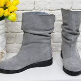 Удобные высокие Ботинки свободного одевания из натуральной замши нежного серого цвета