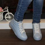 Ботинки зимние женские голубые эко-кожа