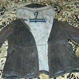 Дубленка натуральная с капюшоном и карманами