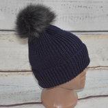 Вязаная шапка с бубоном, вязанная, с помпоном