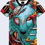 Стильная 3D футболка Mechanical wolf