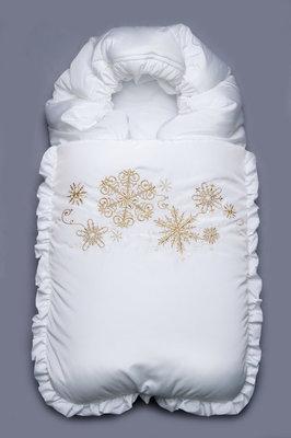 Конверт на выписку зимний белый Снежинки золото