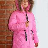 Детское теплое зимнее пальто на девочку натуральный пуховик