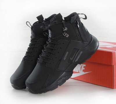 Кроссовки мужские Найк ACRONYM x Nike Huarache X Acronym City MID Leather  All Black 64551b2f5975f
