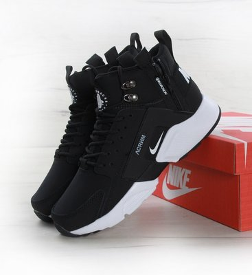Кроссовки мужские Найк Nike Huarache X Acronym City MID Leather Black White 08ad6607e4e43