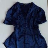 Рубашка блузка синяя нарядная атласная 50 52 размер топ лук скидка sale