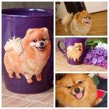Чашка кружка декорированная полимерной глиной.3d портрет питомца по фото .Чашка с собакой.