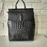 Кожаный рюкзак-сумка трансформер с теснением под рептилию Крокодил Black